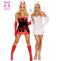 adult devil costumes - White Red Reversible Both Sides Halloween Women Party Games Clubwear Adult Devil Angel Costume With Wings Sexy Cosplay Costumes