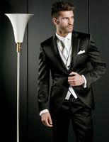 al por mayor pantalones botones de metal-Uno de moda en el metal brillante negro esmoquin del novio padrinos de boda de los hombres de trajes de fiesta de encargo (+ chaleco + Tie Jacket + Pants) K: 68
