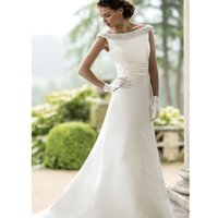Wholesale 2016 A Line Satin Wedding Gown With Faux Pearls Boat Neckline Plunging V Back Elegant Bridal Dress Custom Made