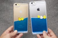 duck swim - For iPhone s Plus fashion liquid Phone Case swimming yellow duck style Phone cover shell