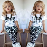 american wake - 2016 Baby Girls Zebra stripe White T Shirt Pants Two pieces Outfits Set Y I Woke Up Like This Letter Printing Girls Clothing Sets Retail