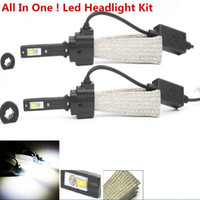 Wholesale 1Set Waterproof W H4 Hi lo k k LM Cree LED Headlights Car Styling Fog Bulbs White automobiles lamps Conversion Kit auto