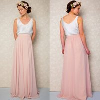 alternative pictures - Simple Two Pieces Bridesmaid Dresses V Neck Sleeveless A Line Chiffon Long Rose Alternative Bridesmaid Style Skirt Maid Of Honor Dress