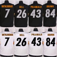 Wholesale Men s Football Jersey Ben Roethlisberger Le Veon Bell Troy Polamalu Antonio Brown Black White Stitched Elite Football Jerseys