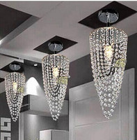 Wholesale HI Q K9 Modern Crystal Chandelier Lamparas Led light Chrome Lighting Ac110v v D17 h45cm E27 Transparent Color Pendant Lights