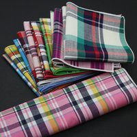 Wholesale 15 colors pocket square cutton grid hanky for men red green pink orange blue black navy gray