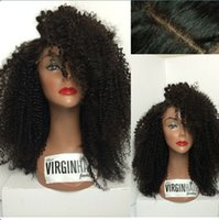 best silk ties - Freeshipping Afro Kinky Curly Human Hair Glueless Silk top Full lace wigs Best natural looking hairline SKin Color