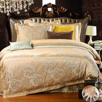 Wholesale European winter Satin Jacquard four piece of cotton set cotton sheets m2 m bedding