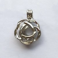Wholesale ashion Jewelry Pendants kgp Rose Pearl Crystal Gem stone Beads Locket Cage Pendant Mountings Fittings for Bracelet Necklace DIY Char