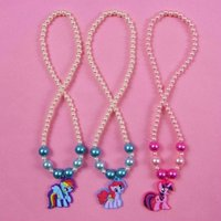 animate rope - 2016 NEW Wholesae Animated cartoon My Little Pony necklace children jewelry sets plastic beads necklace gilrs gifts