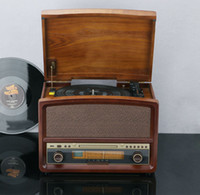 antique wood radio - Multifunction Vintage LP vinyl phonograph antique phonograph antiquated machine CD player cassette radio CD player Speaker