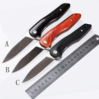 Wholesale NEW ZF ZF18 Superior quality hair brushed CR15MOV blade steel black G10 rosewood ebony handle Outdoor folding High end knife