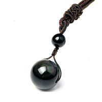 Wholesale 100 Natural Stone Black Obsidian Rainbow Eye Beads Ball Pendant Transfer Lucky Love Amulet Mens Necklace Pendant