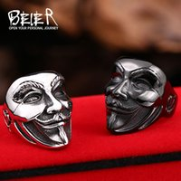 african mask design - New Design New V for Vendetta V Mask Ring Stainless Steel Ring Jewelry Factory Price BR8 small