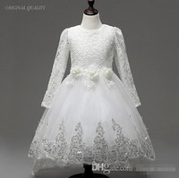 Cheap Real Image Vintage White Lace Flower Girl Dresses For Wedding Party Sheer Long Sleeves Handmade Flowers 2016 Little Kids First Communion Gow