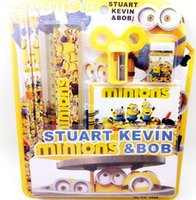 Wholesale MINIONS learning stationery set pen notebook ruler Cutting pen implement rubber