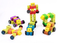 Wholesale wood TransFormer robot wooden Model Building robot kids child boy educational toys AUTOBOT DECEPTICON bP3