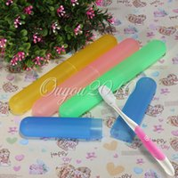 Wholesale 2015 New Useful Portable Multi color Travel Toothbrush Holder Case Antibacterial Protecting Box Pure Color Tube Brush Cover