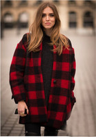 Wholesale Runway Fashion High Quality Isabel Coat Wide waisted Single Button Red And Black checkered Wool Blends Jacket