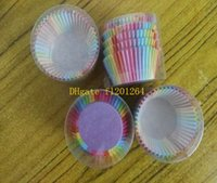 Wholesale Fast shipping New Colorful Rainbow Paper Cake Cupcake Liners Baking Muffin Cup Case For Wedding Party