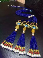 beeswax pearls - Natural Lapis lazuli Necklace Sweater Chain Beeswax with Pearl jewelry gifts mother s day