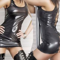Wholesale Amazing Sexy Vinyl Club Dress New Summer Women Faux Leather Wet Look Latex Black Nightclub Dress Lace Up Sleeveless Pole Dance Dress W1112