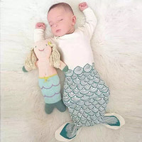 Wholesale Mix Baby mermaid sleeping bag lovely tails penguin print sleepwear infants Ins autumn cotton Protect belly Anti kick years years