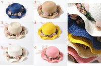 Wholesale The new spring and summer children s wreath wave straw hat Children s outdoor sun hat beach sun hat color