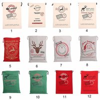 Wholesale 2017 New Christmas Gift Bags Large Canvas Monogrammable Santa Sack Organic Heavy Canvas Claus Drawstring Bag With Reindeers