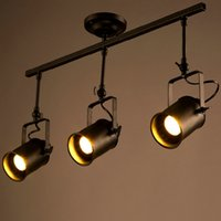 Wholesale Retro Loft Vintage LED Track Light Industrial Ceiling Lamp Bar Clothing Personality spotlight Light Three Heads