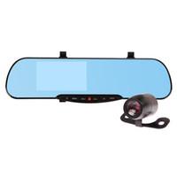 4.3inch coche cámara DVR lente dual 1080p coche grabadora de vídeo Dash cámara espejo retrovisor coche DVR G-sensor de 140 grados de gran angular