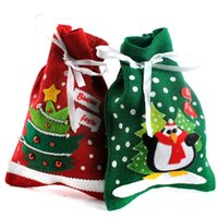 bag designs patterns - Santa Bag Gift Sack with Cord Pattern Design Tree Penguin Drawstring Christmas Gift Bags for Christmas Present