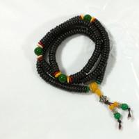 Acheter Bracelets en bois faits à la main-Natural ébène perles de bois Chip perles tibétaines Chaînes Collier en bois Fashion Charm Bijoux faits à la main gros N1053