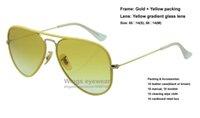 Brand new pilote JM Lunettes de soleil en métal de style couleur 001 / X4 Or Cadre de cadre jaune en gradient en verre de qualité supérieure gafas de sol