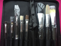 Wholesale mc make up brush brush Professional makeup Brushes HIGH QUALITY LEATHER BAGS FREE DHL