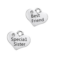 best sister bracelets - Antique Silver Plated Special Sister Best Friend Crystal Heart Small Charms Fit for Floating Bracelets Bulk