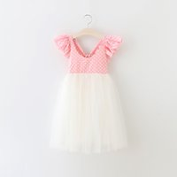 Wholesale New children princess dress girls polka dots floral ruffle fly sleeve tulle dress kids back V neck bows long dress girls party dress A8969