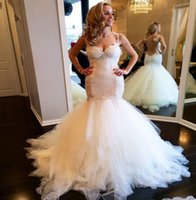 Wholesale Hot Mermaid Lace Backless Vintage Wedding Dresses Spaghetti Straps Sweetheart Appliqued Tulle Bridal Gowns Runch Skirts Long Vestidos