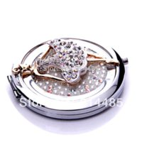 ballet mirrors - Crystal ballet girl pocket mirror portable double dual sides stainless steel frame cosmetic mirror makeup mirrors
