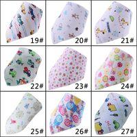 Wholesale Organic Bandana Scarf Double Layers Cotton Kids Baby Bibs Towel Bandanas Triangle Saliva Burp Infant Cartoon Toddler