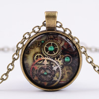 Wholesale Alloy Vintage Compass Gears Glass Cabochon Bronze Chain Steampunk Pendant Necklace Good Jewelry Accessary