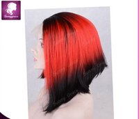 Cheap Hot sale ombre red synthetic lace front wig with baby hair heat resistant hair bob wigs in stock