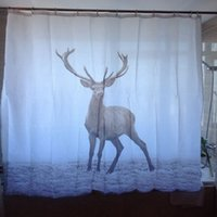 Wholesale 180x180cm Waterproof Polyester Fabric Bathroom Curtain Animal Deer Shower Curtains With Hooks