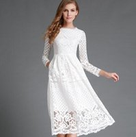 Wholesale New Summer Fashion Hollow Out Elegant White Lace Elegant Party Dress High Quality Women Long Sleeve Casual Dresses