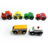 Wholesale x24 High quality wooden rail car children s educational toys urban traffic police car agricultural vehicles taxi school bus