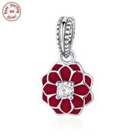 Wholesale 5pcs Authentic Sterling Silver Dangle Pendant Encanto Floral Bloom Fit Pandora Bracelet Pulseras Necklace Jewelry For Woman S318