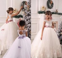 Wholesale 2016 New Flower Girls Dresses For Weddings Ball Gown Lace Sashes Bow Party Princess Children Kids Party Birthday Christmas Communion Gowns