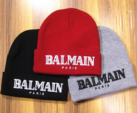 Wholesale Fashional BALMAIN paris beanies autumn winter knitted warm men beanies causal streetwear gorro skating hats