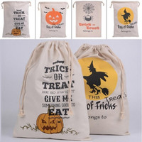 halloween bag - New Halloween Large Canvas bags cotton Drawstring Bag With Pumpkin devil spider Hallowmas Gifts Sack Bags styles
