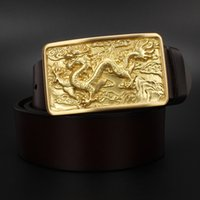 Wholesale Belt For Men Craft Chinese Dragon Animal Loong Solid Brass Buckle For Belts cm Wide Antique Gold Archaic Design